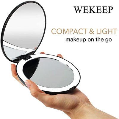 "WEKEEP LED Lighted Travel Makeup Mirror, 1x/10x Magnification - Daylight LED, Compact, Portable, Large 5"" Wide Illuminated Folding Mirror"
