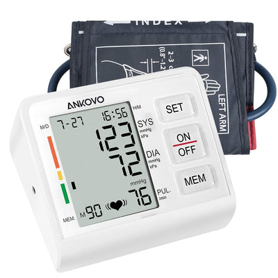 ANKOVO Blood Pressure Monitor Upper Arm Digital Automatic Electronic Monitor with Adjustable Cuff, Large Screen Display, Portable Case for Adults with FDA Approved - ankovo.com