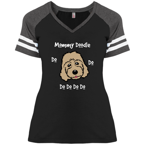 Mommy Doodle Do Do Do Ladies' Game V-Neck T-Shirt