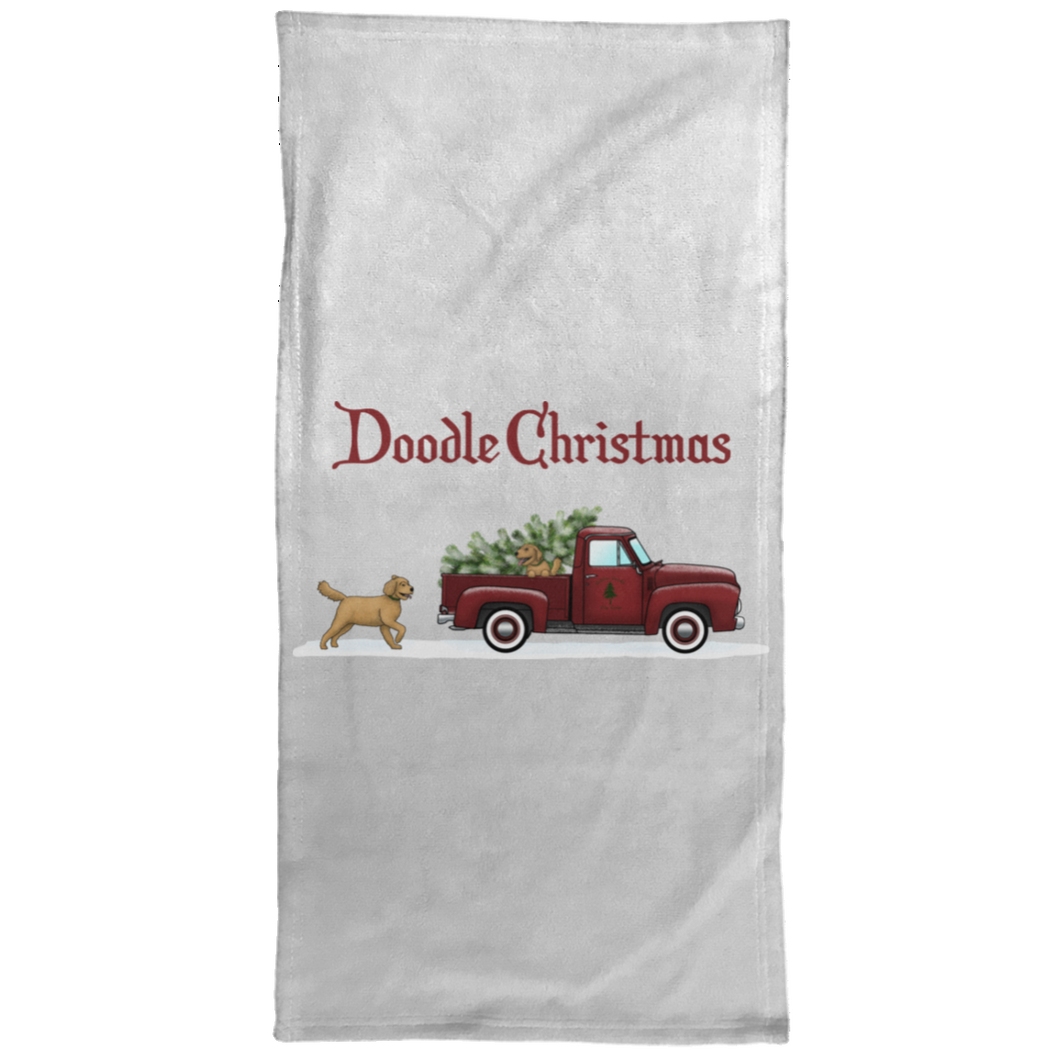 Doodle  Red Truck Christmas Hand Towel - 15x30