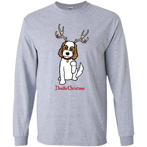 White and Brown Doodle Youth LS T-Shirt