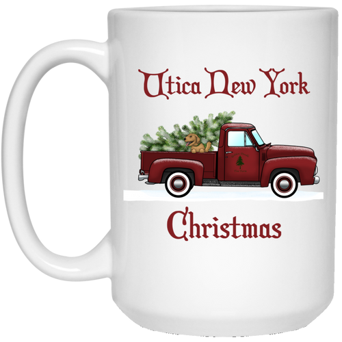 Utica NY Red Truck 15 oz. White Mug