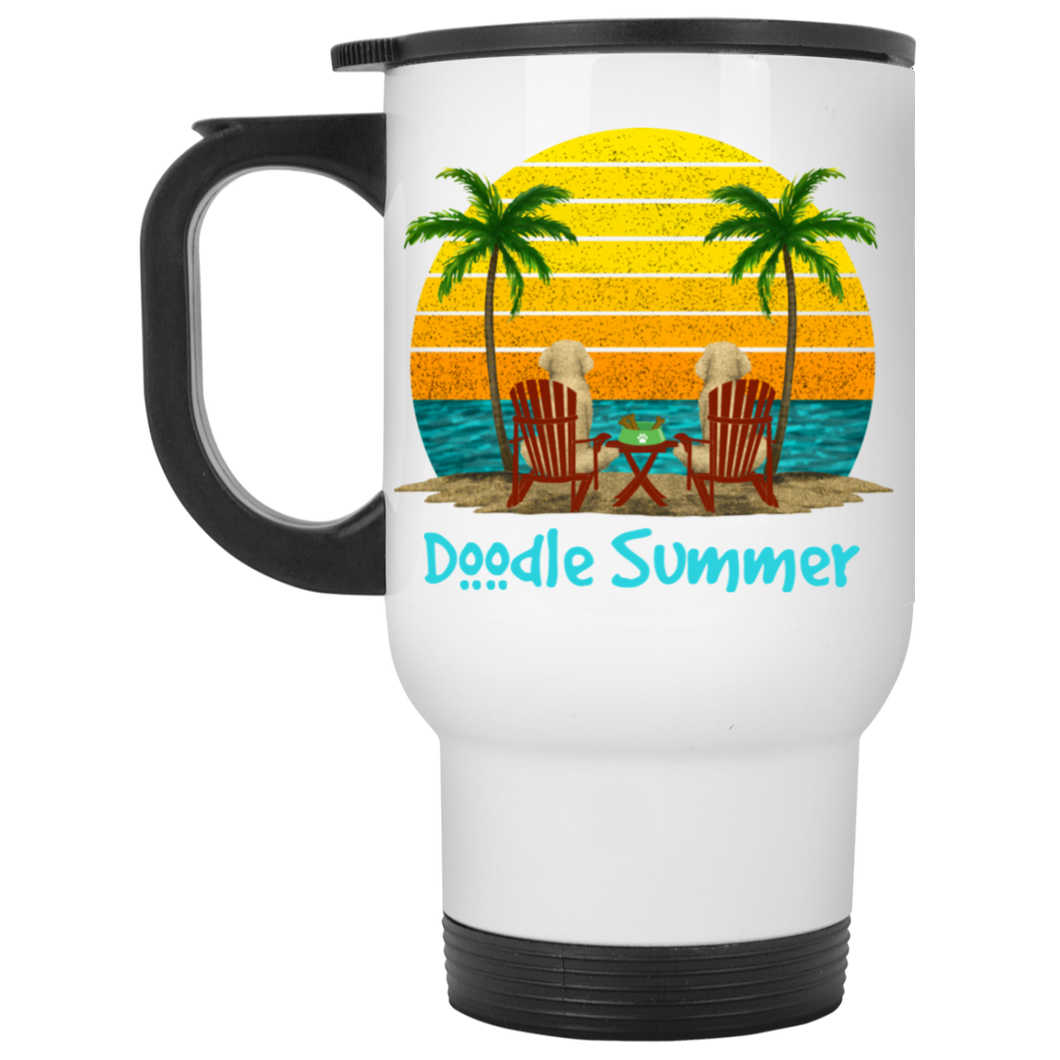 Doodle Summer White Travel Mug