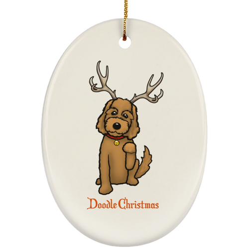 Doodle Deer Christmas Ceramic Oval Ornament