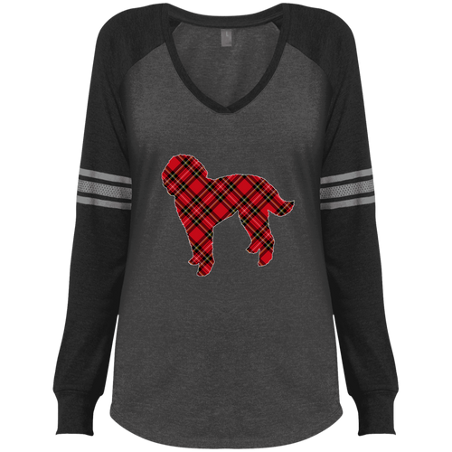 Doodle Plaid Ladies' Game LS V-Neck T-Shirt