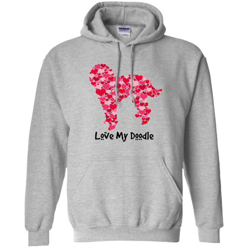 Doodle Hearts Pullover Hoodie 8 oz.