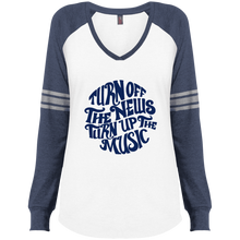 Turn Off The News Turn up the Music Ladies' Game LS V-Neck T-Shirt