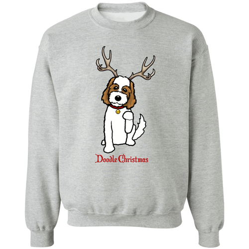 Brown and White Doodle Deer Pullover Sweatshirt  8 oz.
