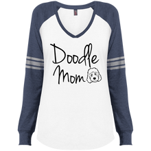 Doodle Mom Ladies' Game LS V-Neck T-Shirt Goldendoodle mom, labradoodle mom