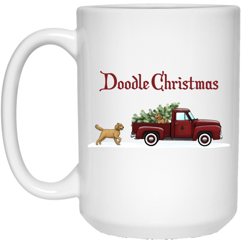 Doodle Red Truck Christmas 15 oz. White Mug