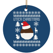 Ugly Sweater Utica NY Ceramic Circle Ornament