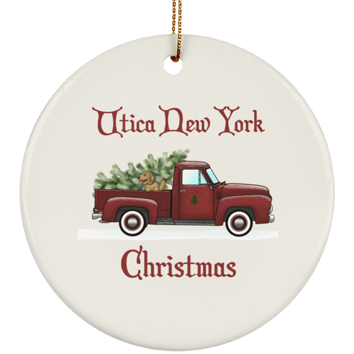 Utica NY Red Truck Ceramic Circle Ornament