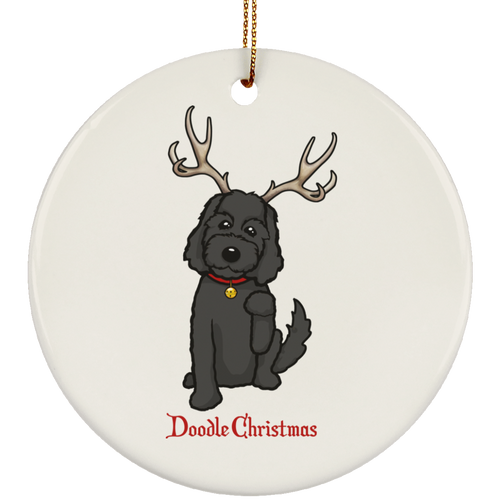 Black Doodle Ceramic Circle Ornament