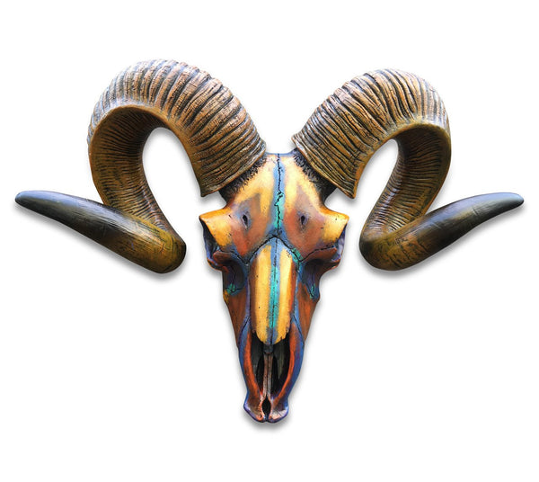 Bighorn Resin Ram/Animal Skull (Multi-Colour)