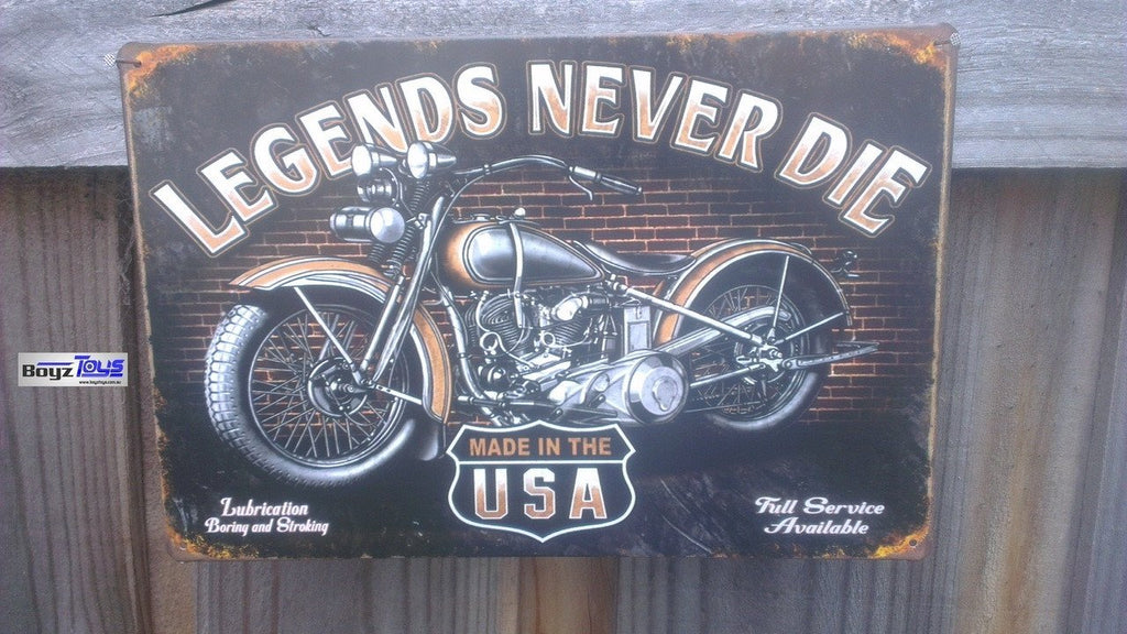 HARLEY Vintage Tin Bar Sign - Legends Never Die