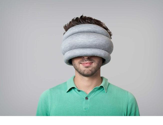 Ostrich Pillow Light, Ostrich Neck Pillow Power Nap, Sleep Anywhere, Grey/Blue