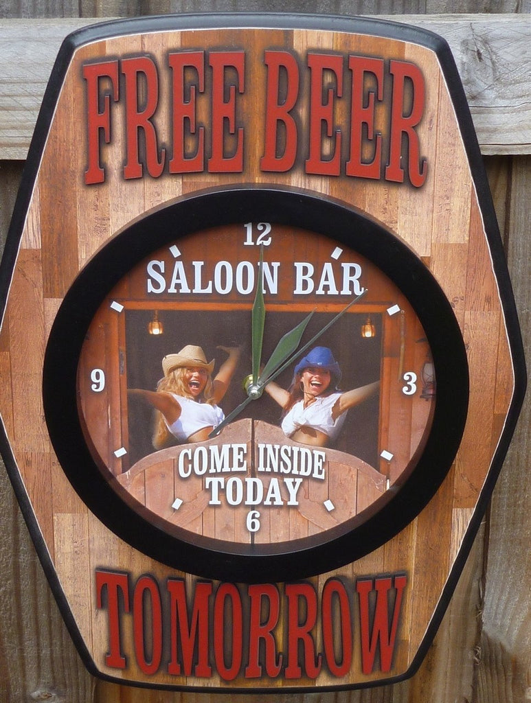 Bar Clock / Sign - 'Free Beer Tomorrow', Man Cave Sign