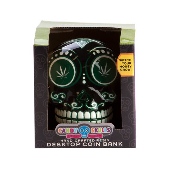 Weed Skull Money Box. Black and Green