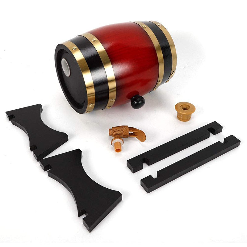 UPORS Vintage Wood Oak Barrel 1.5/3L Keg Beer Brewing Equipment Wooden Wine Barrel Dispenser for Rum Pot Whisky Wine Accessories