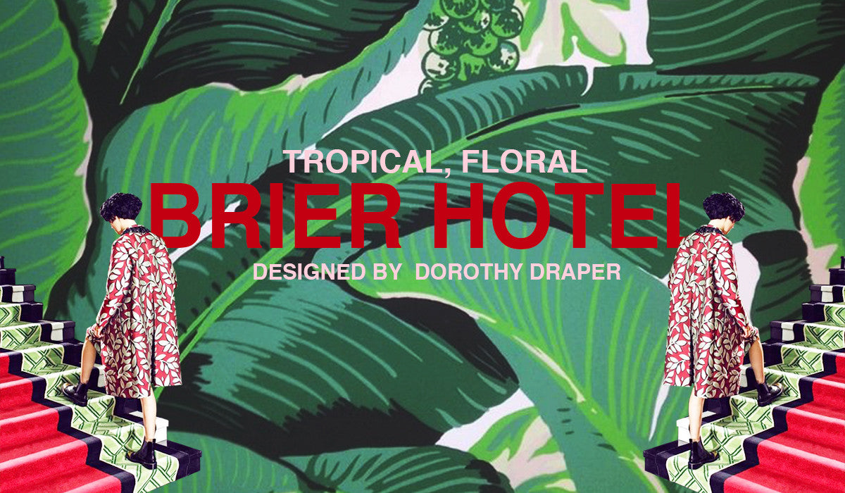 Tropical, floral Brier hotel designed by Dorothy Draper