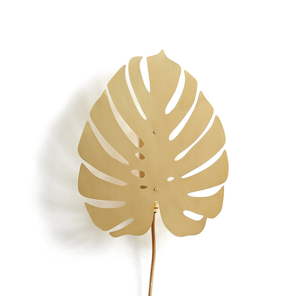 Small Gold Cheese Plant Wall Light