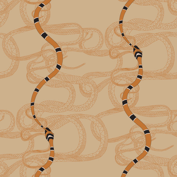Snake Fabric <b>Tan & Orange</b>