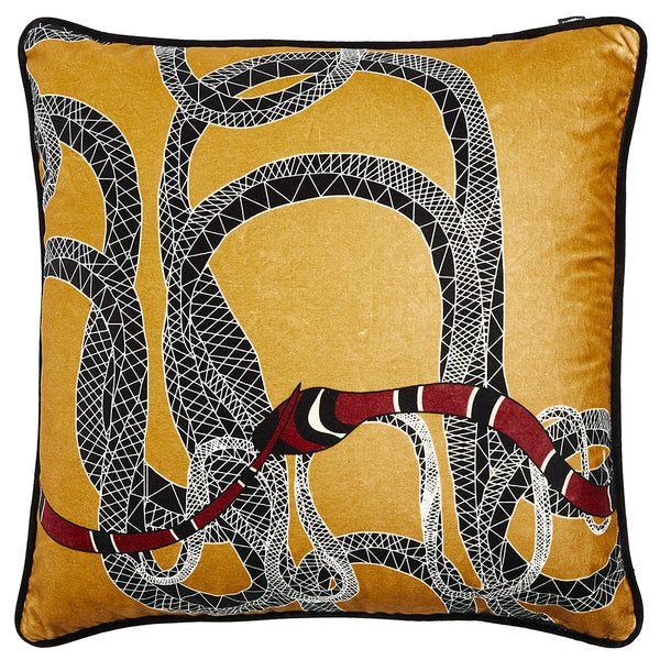 Snake Medium Square Cushion <b>Gold & Red</b>