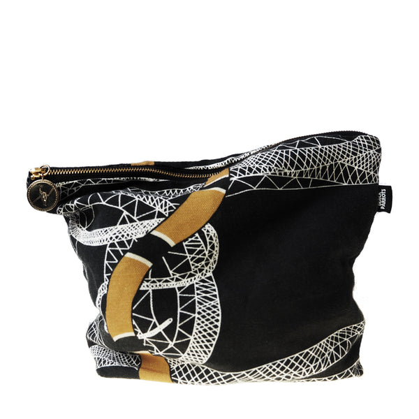 Snake Clutch Bag <b>Black, Linen</b>