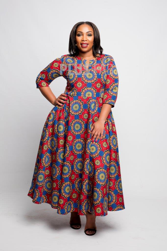 Noma Dress Red & Navy Print
