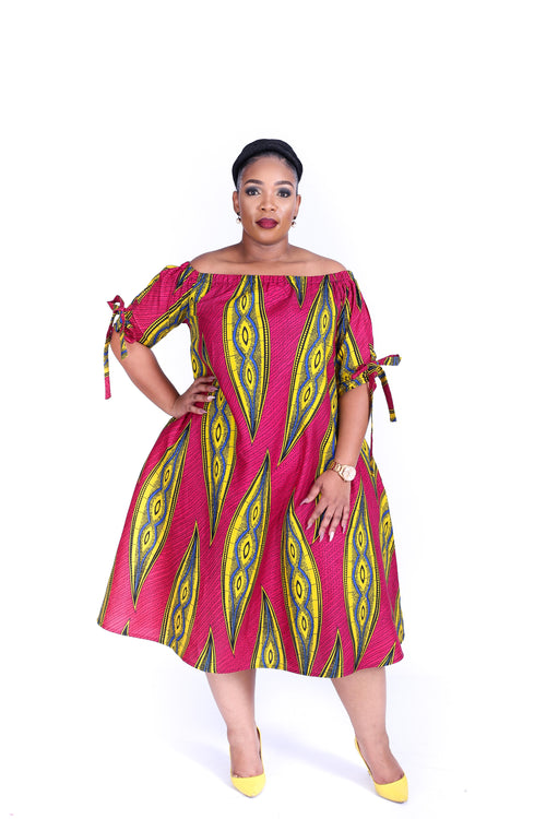 Thami Dress Pink and Yellow
