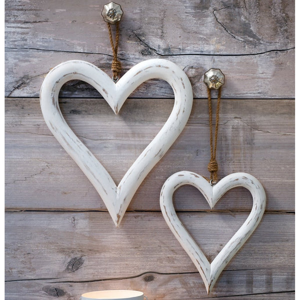 Pair of Large White Hearts