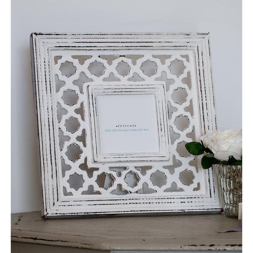 White Geometric Photo Frame - Retreat Home - Beau's Boutique