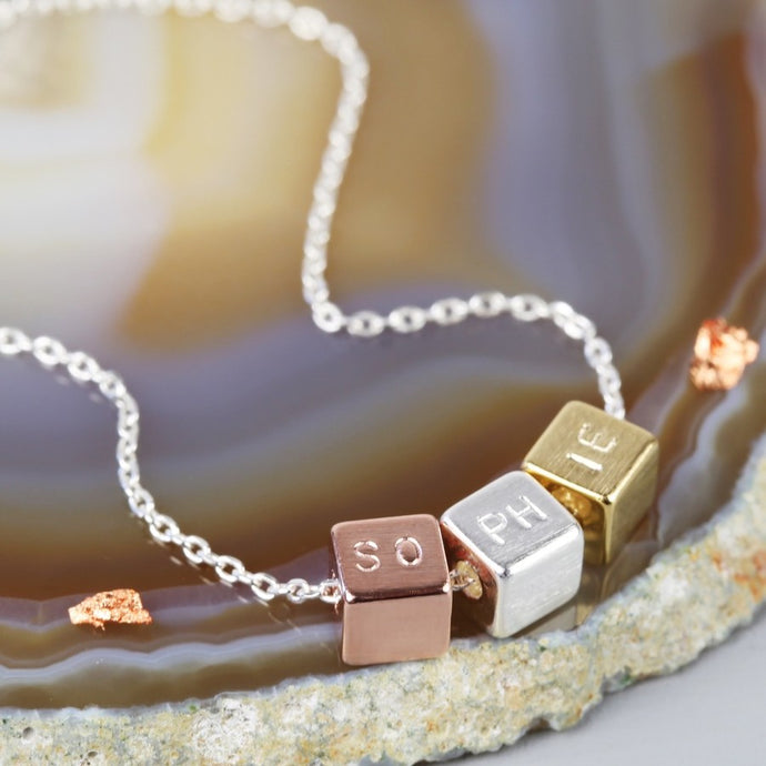 DS - Personalised Triple Mixed Metal Cube Necklace - Beau's Boutique