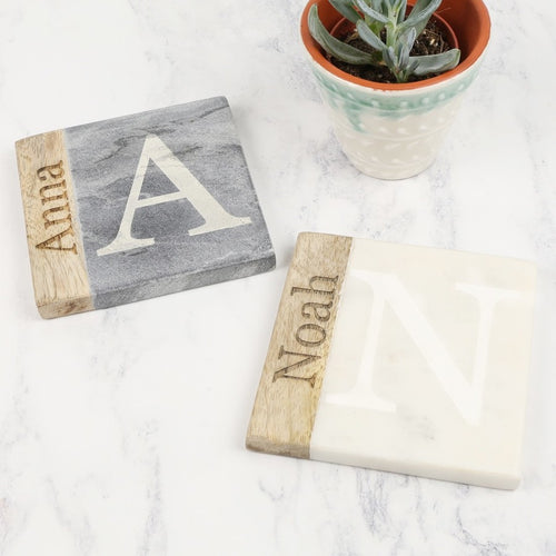 DS - Personalised Marble and Wood Coaster - Beau's Boutique