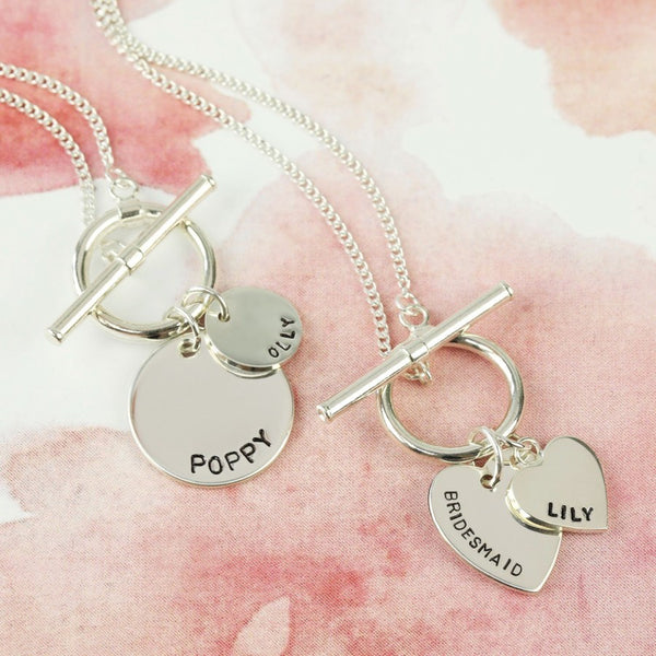 DS - Personalised Sterling Silver Toggle and Charm Necklace