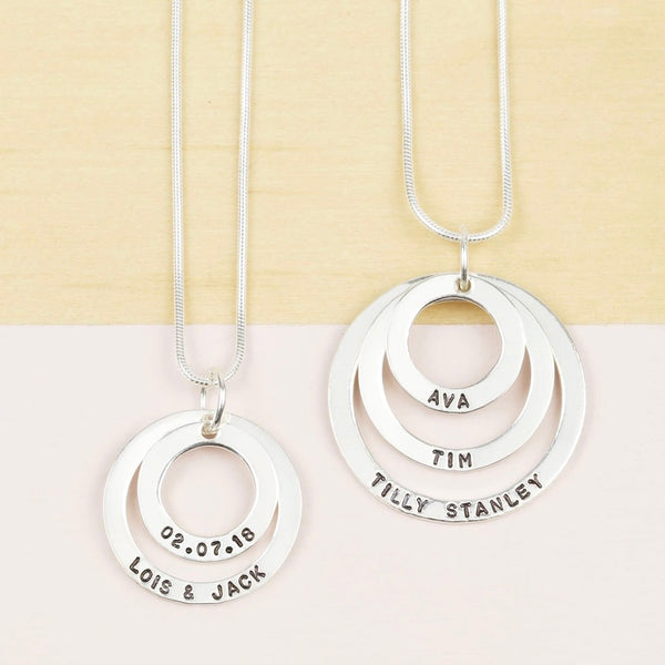 DS - Personalised Sterling Silver Double Hoop Family Necklace
