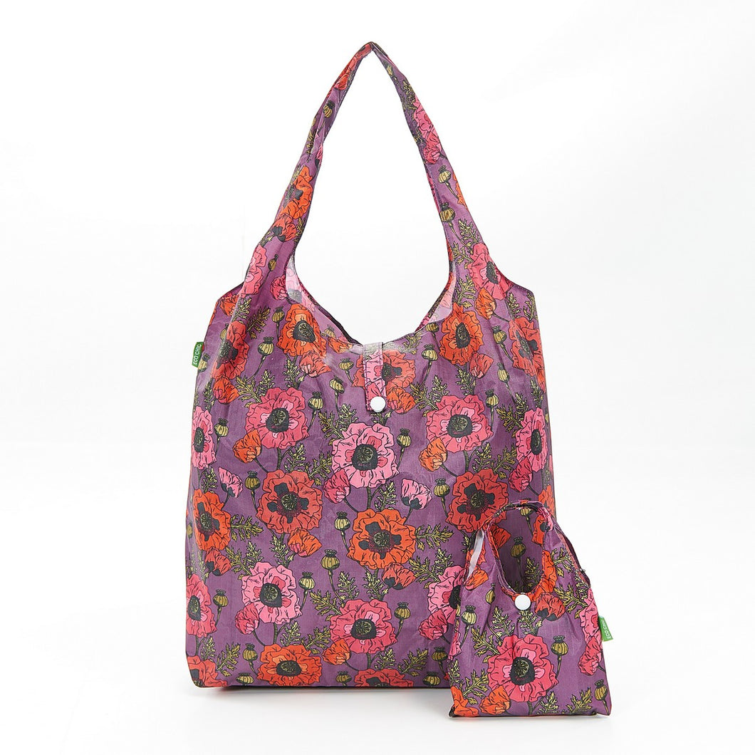 Purple Poppy Foldaway Shopper - Beau's Boutique