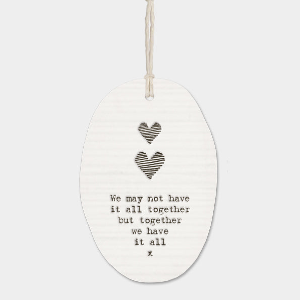 Porcelain hanger two hearts - 'Together we have it all' - Beau's Boutique