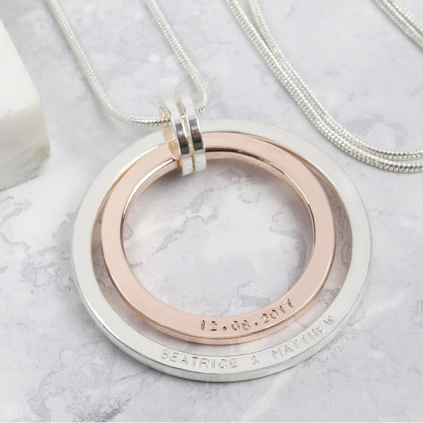 DS - Personalised Long Mixed Metal Double Circle Necklace