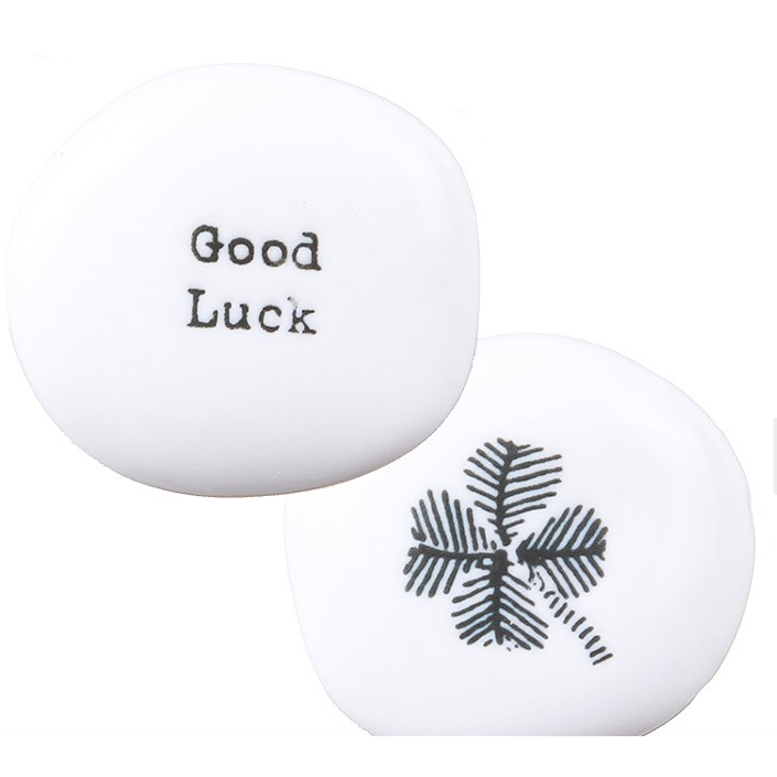 East Of India 'Good Luck' Sentiment Pebble