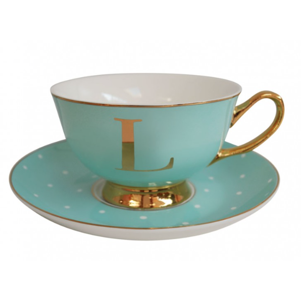 Alphabet Spotty Teacup and Saucers