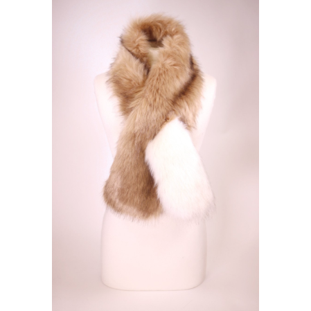 Long Brown Faux Fur Scarf - White Pop