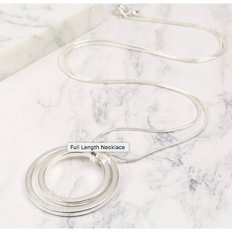 DS - Personalised Long Silver Double Circle Necklace