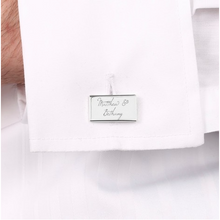 DS - Personalised Silver Rectangular Wedding Cufflinks - Beau's Boutique