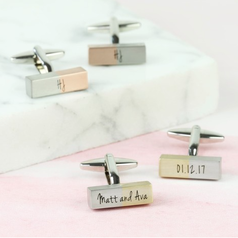 DS - Personalised Brushed Dipped Bar Cufflinks