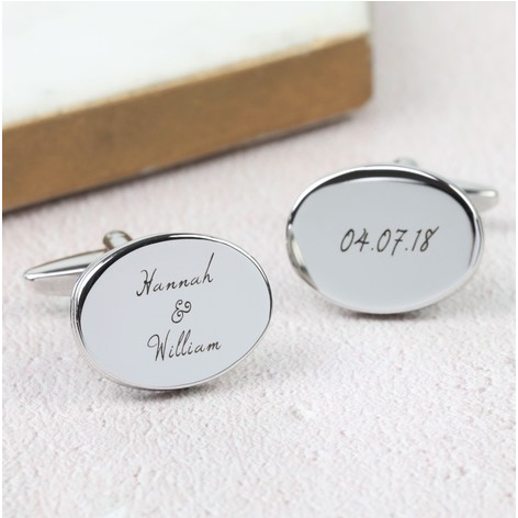 DS - Personalised Men's Silver Oval Wedding Cufflinks
