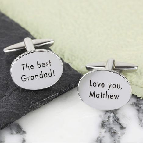 DS - Personalised Men's Silver Oval Cufflinks - Beau's Boutique