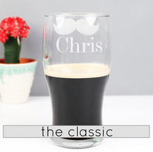 DS - Personalised Moustache Pint Glass - Beau's Boutique