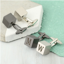 DS - Men's Personalised Brushed Cube Cufflinks - Beau's Boutique