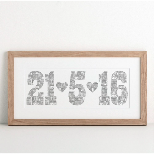 DS - Personalised Typographic Date Print - Beau's Boutique